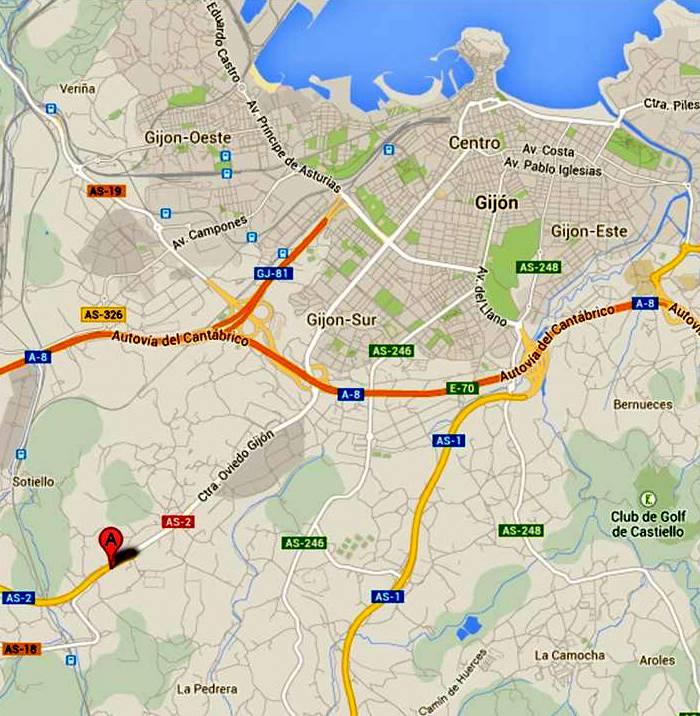 Ubicación de Casares sobre Mapa de Gijón